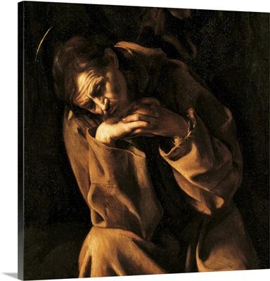 Saint Francis in Prayer, by Caravaggio, c. 1606-1607. Ala Ponzone Civic Museum, Cremona