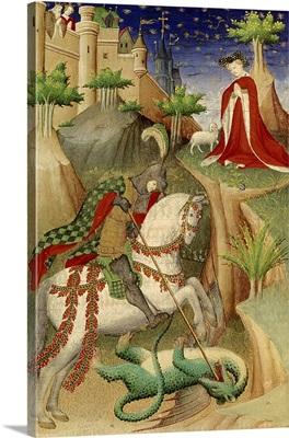 Saint George and the Dragon, Miniature Heures de Boucicaut, c. 1390-1420