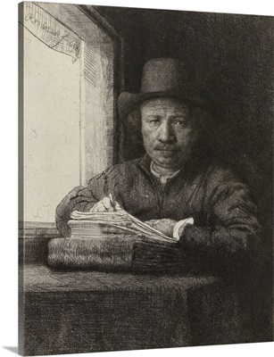 Self-portrait of Rembrandt, Etching at a Window, by Rembrandt, 1648