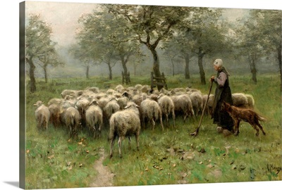 Shepherdess with a Flock of Sheep, c. 1870-88, Dutch painting, oil on canvas