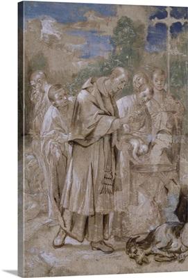 St, Charles Borromeo Baptising a Child c. 1590 by Italian Annibale Carracci, Louvre
