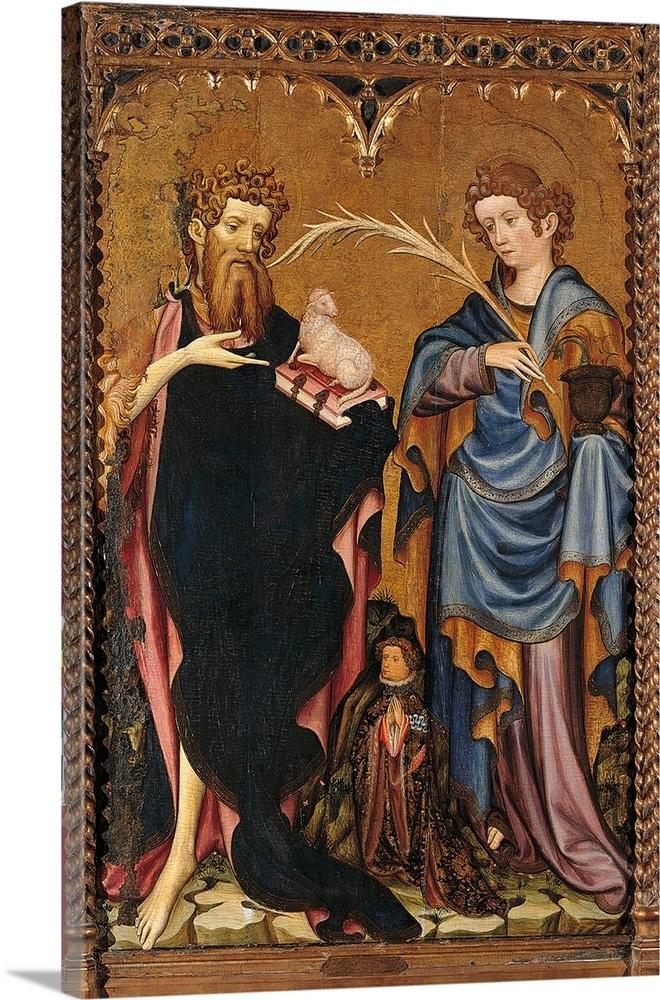 St  John Baptist, St  John Evangelist, Doner, by Master of International  Gothic Style