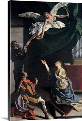 Sts. Cecilia, Valerianus, and Tiburtius Visited by the Angel, by Orazio Gentileschi