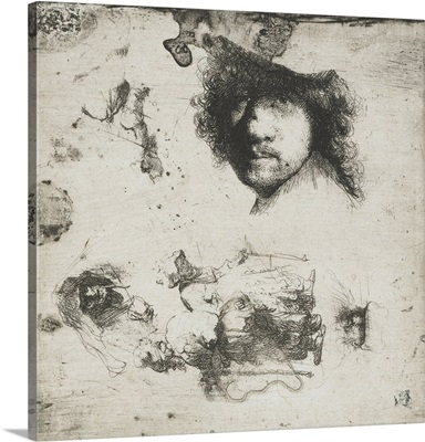 Study Sheet: Self-portrait, a Few Beggars, Head of Old Man and a Woman