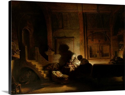 The Holy Family at Night, by workshop of Rembrandt van Rijn, 1642-48