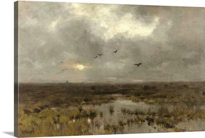 The Marsh, by Anton Mauve, c. 1885-88, Dutch painting, oil on canvas