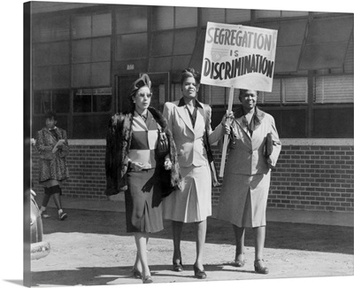 Three African American Women With Sign Reading, 'Segregation Is Discrimination'. Houston