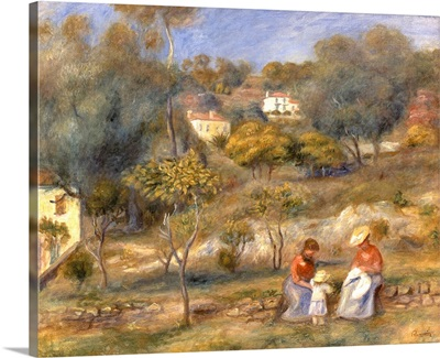 Two Women and a Child, Impressionist landscape painting by Pierre-Auguste Renoir, 1902