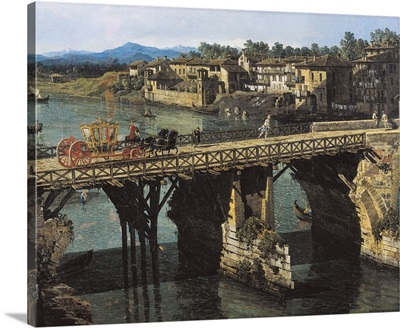 View of an Old Bridge Over the River PoTurin