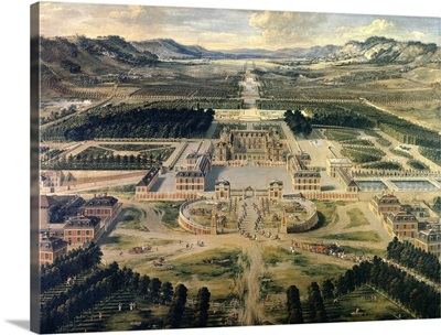 View of Castle and Gardens of Versailles, from Avenue de Paris in 1668