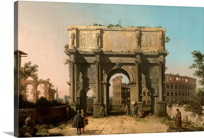 View of the Arch of Constantine with the Colosseum, Italian painting