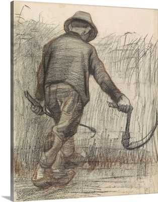 Wheat Mower with Hat, Seen from Behind, by Vincent van Gogh, c. 1870-90