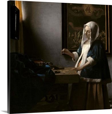 Woman Holding a Balance, by Johannes Vermeer, c. 1664