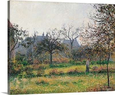 Woman in an Orchard, Autumn Morning, Garden at Eragny, by Camille Pissarro, ca. 1897