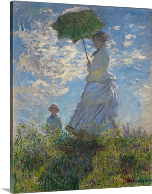 Woman with a Parasol-Madame Monet and Her Son, by Claude Monet, 1875