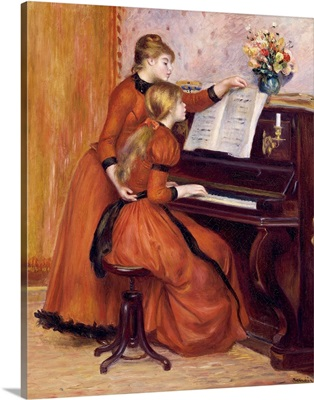 Young Girls at the Piano, c. 1889, By French impressionist Pierre Auguste Renoir