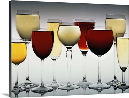 Row Of Assorted Red And White Wines In Wine Glasses Wall Art, Canvas ...