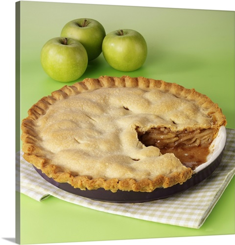 Whole Apple Pie With Cut Slice Taken Out, Three Fresh Apples On ...
