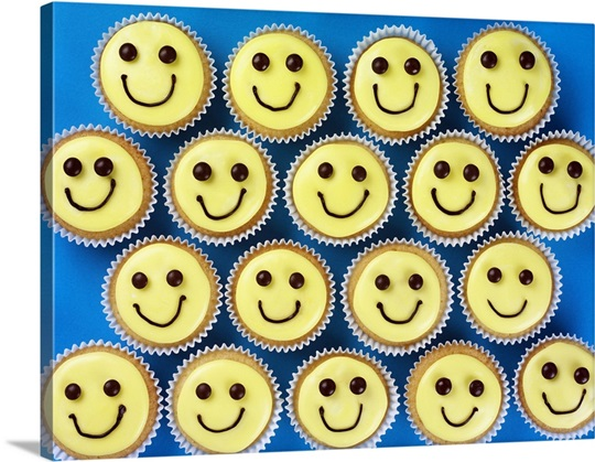 Yellow Iced Cupcakes Decorated With Smiley Happy Faces Wall Art ...