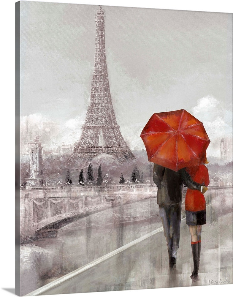 Modern Couple In Paris Wall Art Canvas Prints Framed