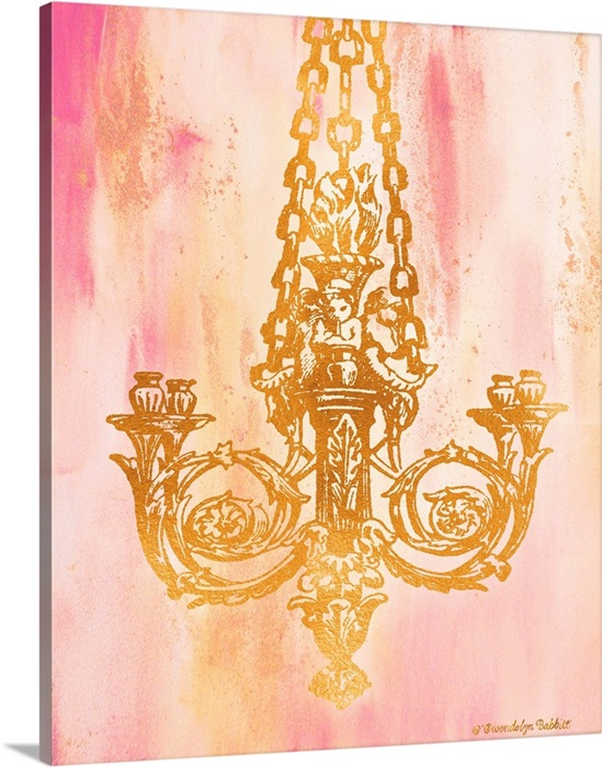 Pink And Gold Ii Wall Art Canvas, Pink Chandelier Wall Art