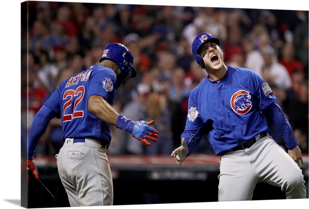 huge discount 4470c 95382 2016 World Series: Anthony Rizzo #44 of the Chicago Cubs celebrates with  Jason Heyward