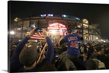 2016 World Series: Chicago Cubs fans celebrate outside Wrigley Field after game seven