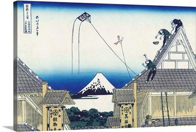 A Sketch Of The Mitsui Shop In Suruga In Edo By Katsushika Hokusai