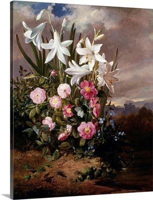 A Still Life of Flowers and Butterflies by Joseph Schuster