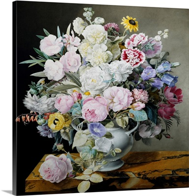 A Still Life Of Flowers On A Marble Ledge By Cyane Lecoq De Boisbaudran