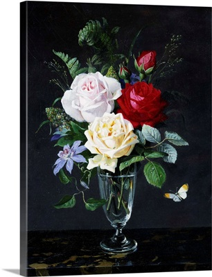 A Still Life Of Roses And Clematis By Olaf August Hermansen