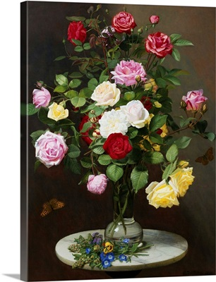 A Still Life With Roses In A Glass Vase By Otto Diderich Ottesen
