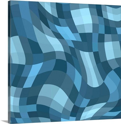 Abstract blue wavy checkered pattern