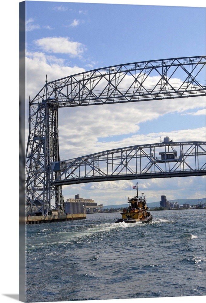 Aerial Lift Bridge In Downtown Area Of Duluth Minnesota