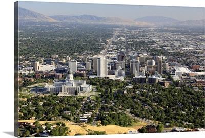 Aerial view of downtown Salt Lake City, Utah