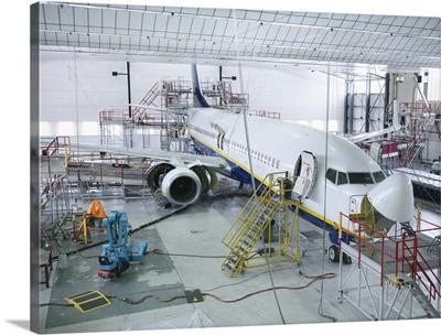 Airplane built in a hangar