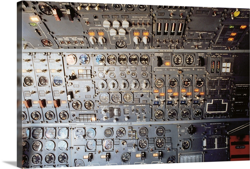 Airplane Cockpit Control Panel Wall Art Canvas Prints