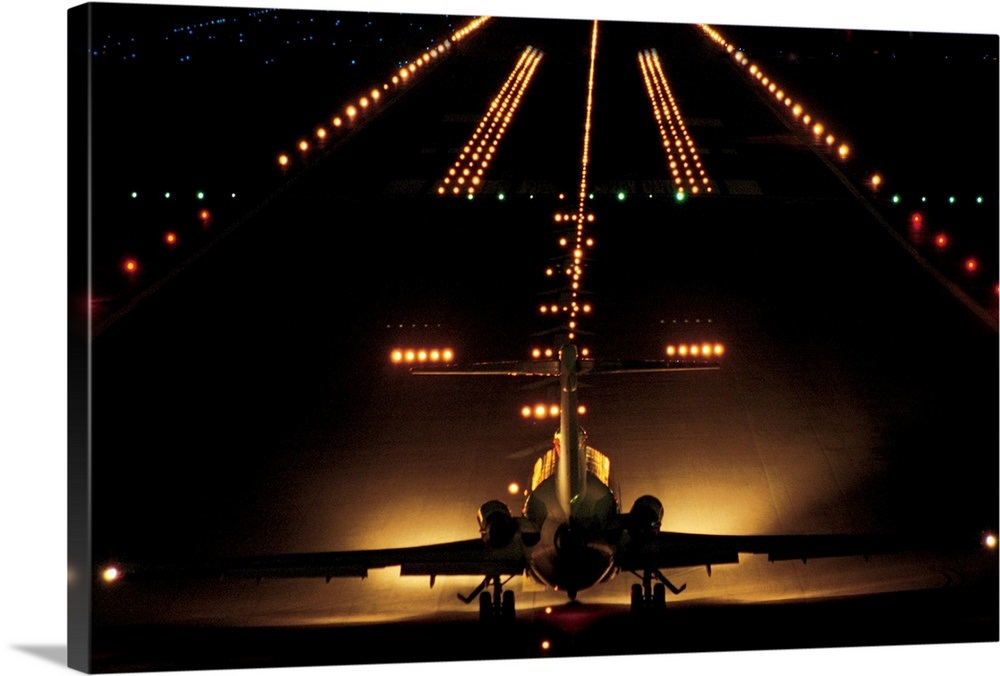 Airplane On Runway At Night Wall Art Canvas Prints Framed Prints Wall Peels Great