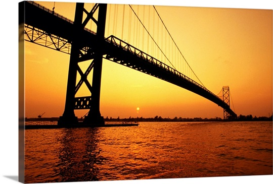 Ambassador Bridge, Detroit Michigan, USA Wall Art, Canvas Prints ...
