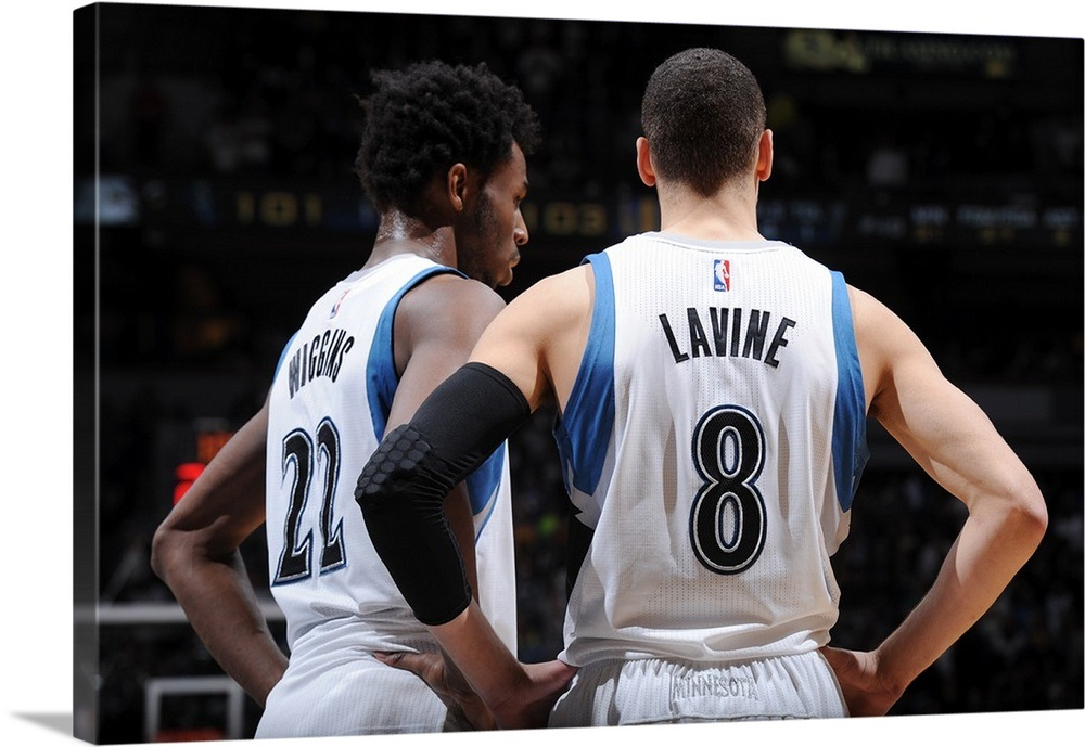 huge discount f63e3 6d191 Andrew Wiggins 22 and Zach LaVine 8 of the Minnesota Timberwolves