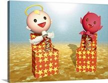 Angel and Devil, CG, 3D, Illustration