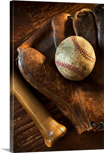 Antique baseball on baseball glove with bat Wall Art, Canvas Prints ...