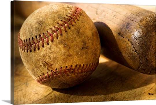 Antique Baseball With Baseball Bat Wall Art Canvas Prints