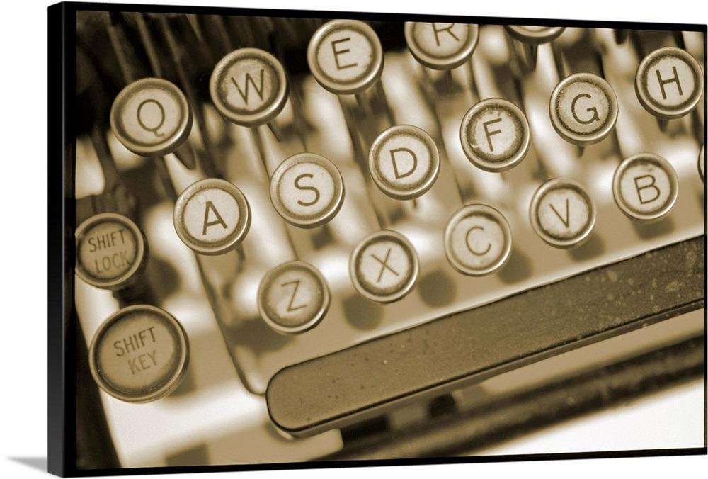 Antique manual typewriter keyboard