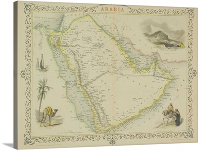 Antique map of Arabia with vignettes