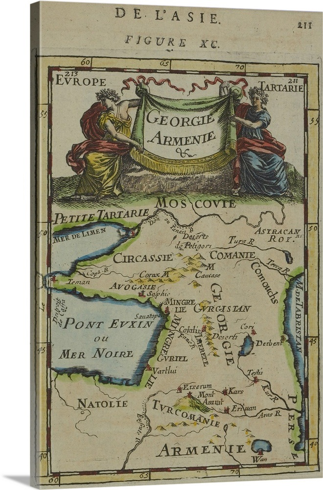 Map Of Georgia In Eastern Europe.Antique Map Of Armenia And Georgia In Eastern Europe