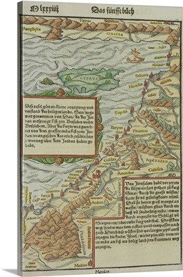 Antique map of coast of present day Lebanon and Syria