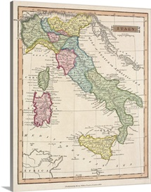 Antique map of Italy and surrounding islands