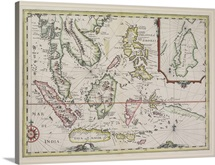 Antique map of Malaysian peninsula and Indonesian islands