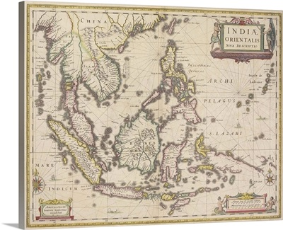 Antique map of southeast Asia